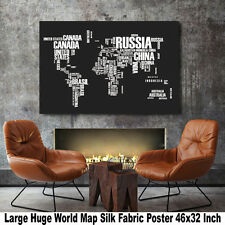 "Poster World Map Large Huge Giant Wall Canvas Silk Fabric Decor 46""x32"" Inch T41"