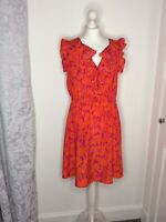 BNWT Monsoon UK 18 Bright Orange Pink Dress Casual Smart Spring Summer