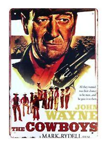 signs John Wayne The Cowboys movie poster tin metal sign