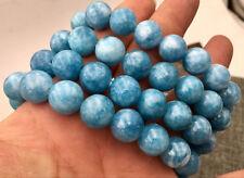 "12mm Natural Blue Aquamarine Gemstone Round Beads Water Pattern Bracelet  7.5"""
