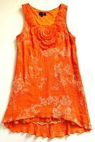 Women's CAROLINE MORGAN Orange 3D Floral A Line Short Lined Dress Size 14 EUC
