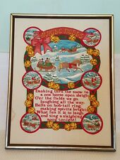 VTG COMPLETED FRAMED PRINTED & EMBROIDERED JINGLE BELLS SONG CHRISTMAS WALL ART