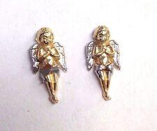 Super Sweet! Cherub Guardian Angel 10K White Yellow Gold Diamond Cut Earrings