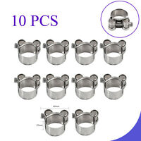 10Pcs Stainless Steel Hose Clamp Heavy Duty Exhaust Turbocharged Car 26-28mm