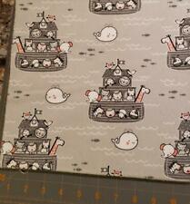 Quilt Sew Fabric Flannel 1 Yard Noah'S Ark greys pink white