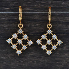 Fashion Women Gold Plated Clear Zirconia Geometric Square Grid Earrings Jewelry