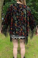 Vintage black floral Print Fringe tassel Devore velvet Kimono short Jacket