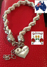 WHITE N SILVER INTERTWINDED GODDAUGHTER BRACELET GREAT GIFT IDEA AUS SELLER 158W