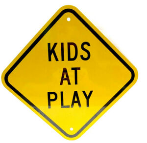 "Children at Play -Steel Sign 15"" x 15"" Diagonal A Real Sign, Luminous Heavy Duty"