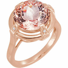 Genuine Morganite Round Gem & .025 ctw Diamonds Solitaire Ring in 14K. Rose Gold