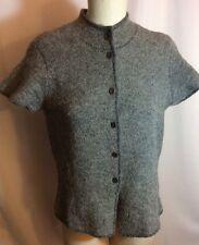 NWOT Eileen Fisher Grey Cap Sleeve Cardigan Vest High Neck Sweater Large