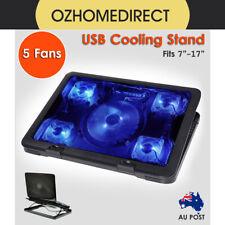 "5 Fans Cooling Stand Pad 2 USB Port Cooler Fits 10""-17"" Laptop Notebook AU"