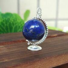 Collier Pendantif Argent Massif 925 Globe Terrestre Perle Lapis Lazuli Bleu CY3