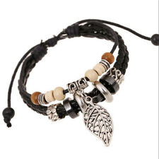 Ethnic Mens Black Leather Beaded Bracelet Interlaced Cuff Bangle Wristband