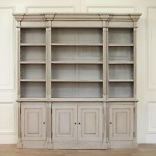 Large Breakfront Distressed Painted Grey Dresser Bookcase Shabby Chic Distressed