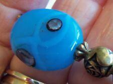 Vintage Blue Glass Art Glass Hatpin Brass 8&3/4 inch Rose