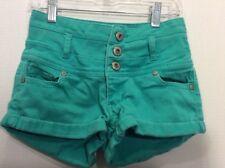 Blue Asphalt Kelly Green Denim Shorts High Waist Junior Size 1