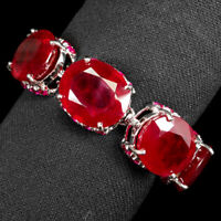 PIGEON BLOOD RED RUBY BRACELET OVAL 284.90 CT. 925 STERLING SILVER JEWELRY WOMAN