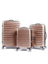 3 Piece Hardside Rose Gold Women's Luggage Set Durable Spinner Fashion Suitcases