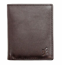 Mens Leather Slim Compact 8 Credit Card Holder Billfold Wallet Case in Brown 205