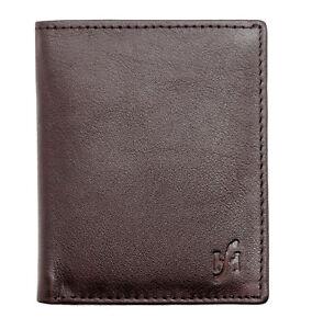 Mens Leather Slim Compact 8 Credit Card Holder Billfold Wallet Case in Brown 205