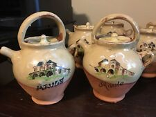 Basque Country Scene Clay Maule Pottery Jugs with Lids- Glazed
