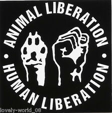 "2 paper sticker ""ANIMAL LIBERATION - HUMAN LIBERATION"" VEGAN,Animal/Human rights"