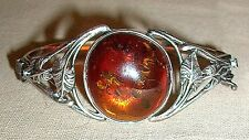 Gorgeous 925 Sterling Silver Polished Round Amber Detailed Leaf Design Bracelet