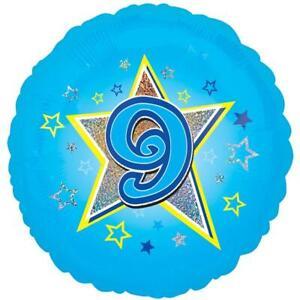 Age Nine Blue Foil Balloon 18''