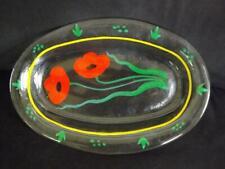 """Kosta Boda 16"""" Oval Poppy Glass Platter Serving Tray"""