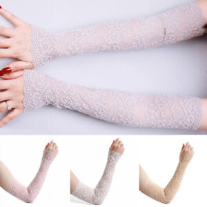Lace Womens Lace Floral Long Arm Sleeve Fingerless Gloves Elegant Party Wedding