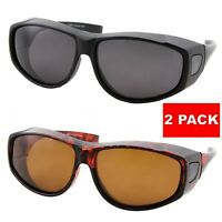 2 PACK POLARIZED Cover Put Fit over Sunglasses wear Rx glass Fit Driving UV400