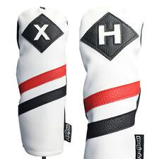 Majek Retro Golf X & H Wood & Hybrid Headcover White Red Black Leather Style