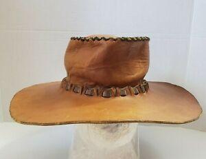 Handmade Leather Cowboy Hat Caramel Brown Sturdy Full Brim Hat Hand stitched S