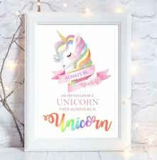 A4 Rainbow Unicorn Quote Picture Print Nursery Girls Room Wall Art Gift
