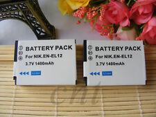 2Pcs Battery for Nikon Coolpix AW100 AW110 AW120 AW130 W300 W130 W120 EN-EL12
