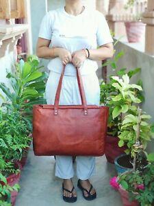 Leather Tote Bag Women Handbag 17 In Laptop Work Travel Carryall Shoulder Bags