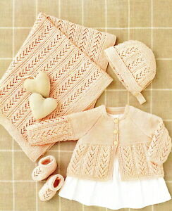 Baby 4 Ply Knitting Pattern Matinee Cardigan Set  Sizes 10 - 20  inches #01