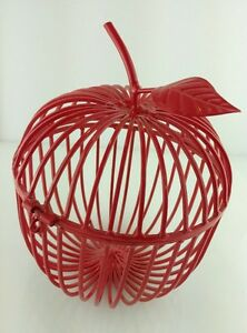 Red Metal Apple Cage Container Teacher Gift or Back To School