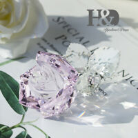 Crystal Pink Rose Figurines Glass Collectibles Wedding Decor Ornament Lady Gift