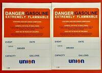 2 -NEW NOS Vintage UNION 76 NASCAR Fuel Racing Dump Gas Can Danger Sticker Decal