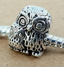 1PC Antique Silver Mommy Baby Owl Bird - Mother Child Animal European Bead Charm