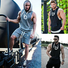 Man Sleeveless Hoodie Hooded Workout Gym Training Tank Top Vest Bodybuilding US