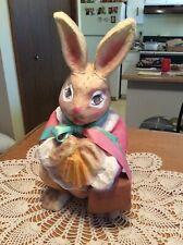 "Paper Mache Bunny Rabbit W/Bow 16"" Tall Girl Rabbit"