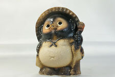 Shigaraki Stoneware Figurine Tanuki Raccoon Dog Classic H22cm / Japanese