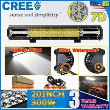 CREE 7D 20Inch 300W 3 Tri-Row FLOOD SPOT DRIVING LED LIGHT BAR OFFROAD TRUCK ATV