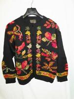 South Wool M Black Orange Red Wool Cardigan Sweater Knit Leaf Leaves Uruguay Md