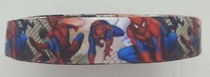 "Spiderman superhero Grosgrain RIBBON 1m x 22mm width (7/8"") birthday cake crafts"