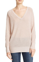 Equipment NWT $268 Asher V-Neck Wool Blend Sweater Ivory-Pink Lurex Size Large L