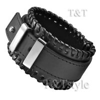 T&T Punk Black Leather Thick Bracelet Wristband (PK10)